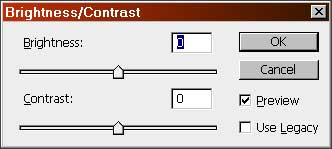 The revised Brightness/Contrast adjustment dialog in Photoshop CS3, complete with the 'Use Legacy' checkbox