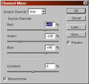 Channel mixer settings for the image on the left