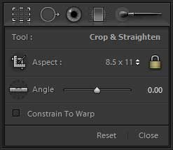 Options for the Lightroom Crop Overlay tool