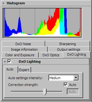 DxO Lighting settings and the Histogram
