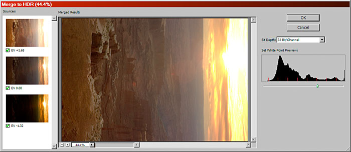 Photoshop CS2 Merge to HDR dialog