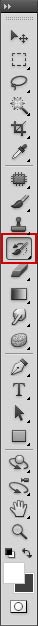 The History Brush icon in the Photoshop tools palette