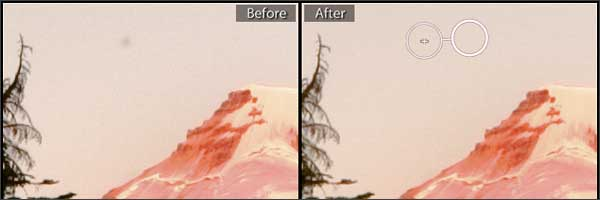 Dust spot over Mt. Baker in the North Cascades, Before and After