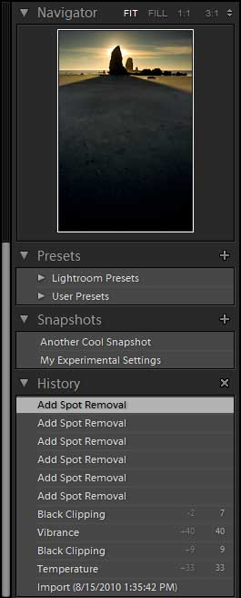 The History and Snapshot panels of Adobe Lightroom