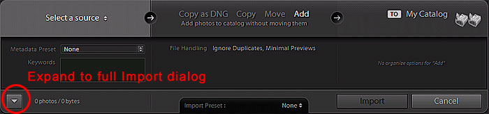 More Import options at the bottom of the dialog window
