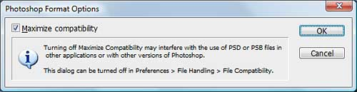 The Photoshop 'Maximize Compatibility' dialog