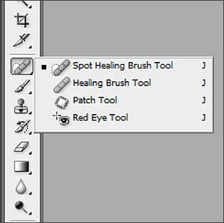 The Patch tool, Healing Brush and Spot Healing Brush tools in Photoshop