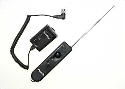 The Phottix Cleon receiver and transmitter (with antenna extended)