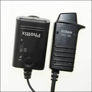The Phottix Cleon receiver is about the same size as the Nikon MC-30 remote